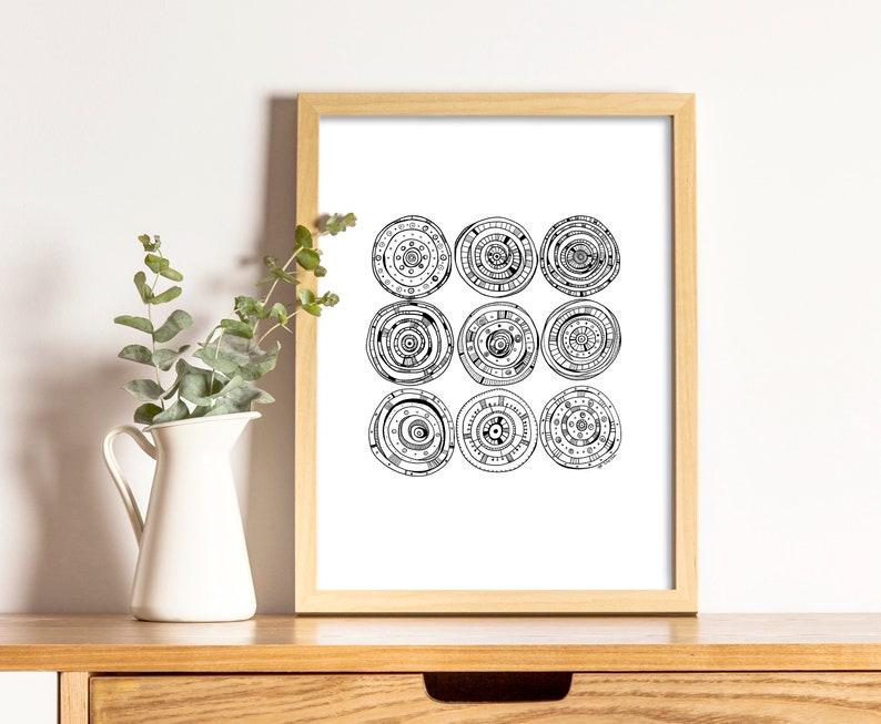 Art print circles geometry drawing, simple black pen, art print,  illustration, black and white, modern art drawing, contemporary painting