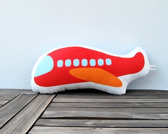 Red stuffed plane, Soft pillow, stuffed toy, cotton children pillow, Boys room, airplane, baby toy, nursery toy, plush toy, kids pillow