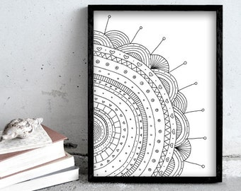 Pen drawing print, flower art print, nature print poster, simple black and white illustration, flower drawing art print, scandinavian art