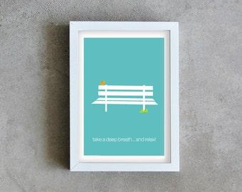 Art print bench, blue art print, Inspirational wall art, poster graphic bird, art print minimal, bench