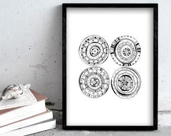 Art print pen illustration, geometric drawing, four circles, simple black and white art print illustration, scandinavian style, pen art