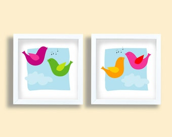 Happy couple birds singing, children room art set, colorful birds art print set, green, purple, pink, yellow, bird prints, kids wall art