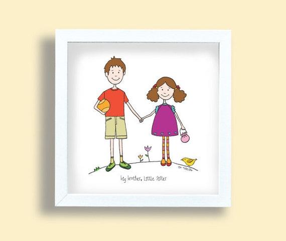 Dessin Frere Et Soeur grand frère petite soeur art print enfants dessin   etsy