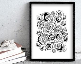 Pen drawing / black pen print / simple black and white illustration / circles pen illustration / scandinavian deco art / modern art print