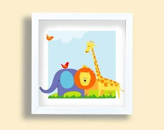 Kids print, jungle animals, Baby art, nursery room, Lion, elephant, giraffe, birds