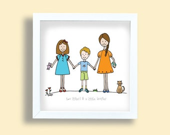 Two sisters and a brother art print, little brother drawing, kids room art print, portrait illustration, children poster, kids room wall art