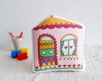 Stuffed toy Colorful house soft toy, pillow, sweet home Decorative cushion, Children pillow, kids toy, baby deco baby room stuffed toy