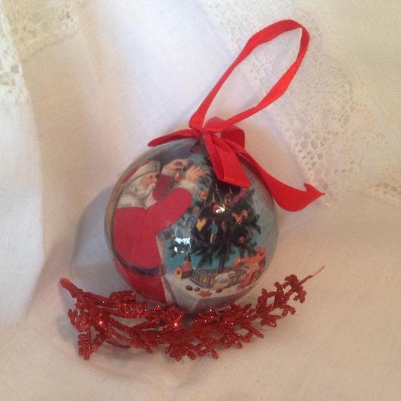 Paper Mache Christmas Ornament.Vintage Paper Mache Christmas Ball Ornament Free Shipping Santa Claus Decoupage Ornament Large Christmas Ball 1980 S Paper Ornament