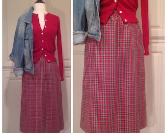 Red plaid skirt, Tartan Plaid / FREE SHIPPNG / cotton skirt with pockets / vintage Preppy skirt / Christmas plaid / midi skirt