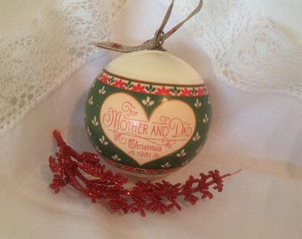 Vintage Hallmark Christmas ornament / FREE SHIPPING / 1980s spun satin ball ornament / lightweight unbreakable ornament