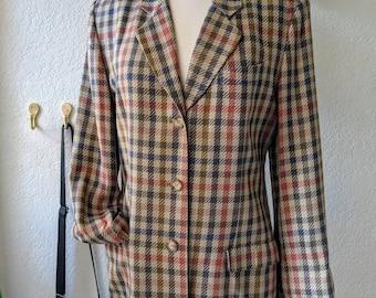 Plaid blazer / retro 1980's / vintage Georges Marciano / size 8 / shoulder pads / business jacket