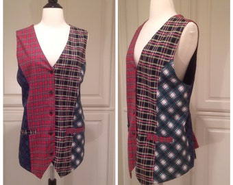 Plaid vest by Carole Little Sport / patchwork plaid design, blue red green plaid / FREE SHIPPING / womans size 12 / 80s preppy style
