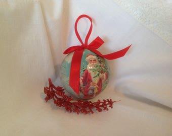 Vintage paper mache Christmas ball ornament / FREE SHIPPING / Santa Claus decoupage ornament / Large Christmas ball / 1980's Paper ornament