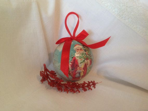 Vintage paper mache Christmas ball ornament / FREE SHIPPING / | Etsy