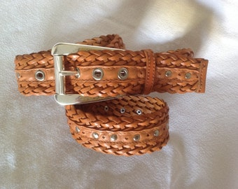 """Woven leather Michael Kors belt / chunky silver buckle / 46"""" belt, caramel color with silver studs/ designer belt / FREE SHIPPING"""