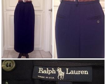 Ralph Lauren, Navy blue long skirt / vintage maxi, tailored skirt / office skirt / wool gabardine / size 4 / free shipping