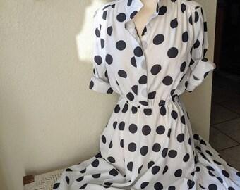 Vintage 1980's polka dot dress / Pierre Cardin / size 10 / black and white dress / full skirt / balloon sleeves