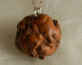 Japanese rabbits Netsuke ball pendant w sterling silver chain necklace , beaded jewelry , Boxwood Netsuke bead , Netsuke jewelry for women