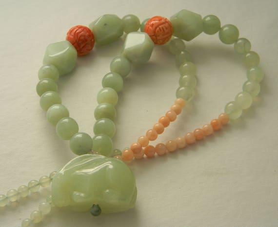 Large celadon jade rabbit pendant coral bead charms w jade aloadofball Images
