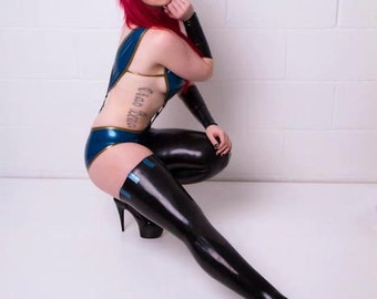 Latex Thigh High Stockings with contrasting trim