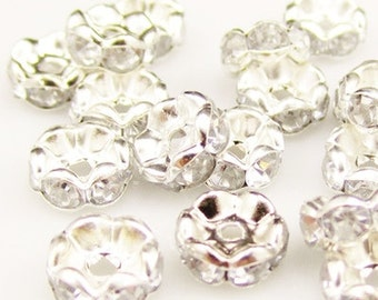 25+pcs 6mm Silver Rhinestones Beads CRYSTAL CLEAR A Grade GLASS Rhinestone  Rondelles Wavy Edge Spacers Diy Jewelry Making Beading Supplies 384a5e9adc99