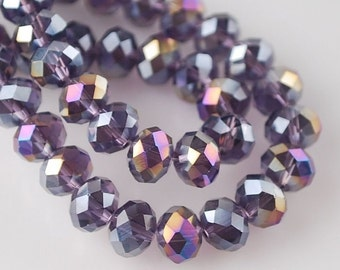50 beads purple faceted washer 4x3 mm crystal