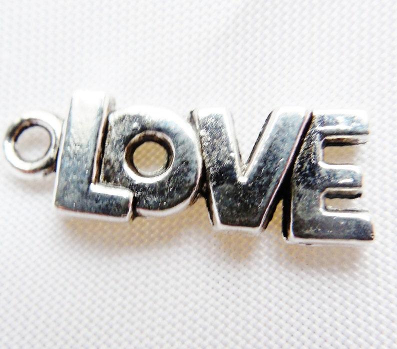 Wedding Shower Gift 12+pcs Love Charms Pendants Tibetan Silver 8x21mm DIY Handmade Jewelry Beads /& Supplies Charm Bracelets Valentine/'s Day