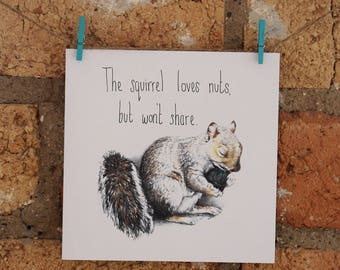 Illustrated Squirrel Christmas Card
