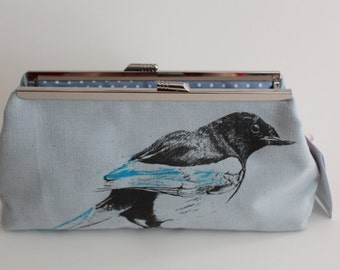Screen-printed Blue Magpie Clutch Bag