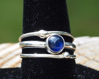 Sterling silver , blue sapphire stacking rings.