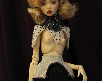 Bjd Outfit For Doll Popovy sisters set: choker, stockings, top and panties