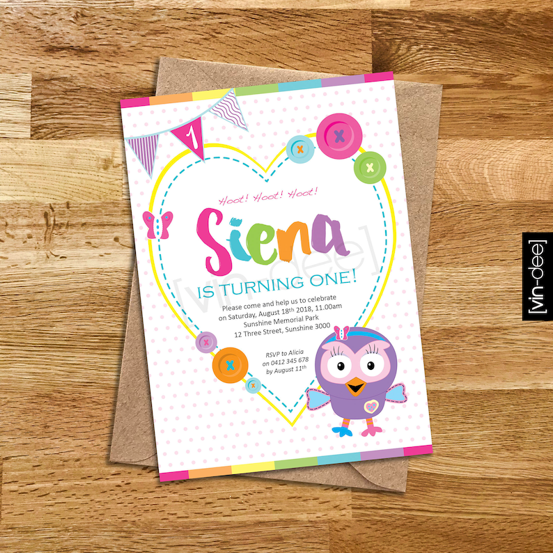 Hootabelle The Owl Birthday Invitation DIY Printable