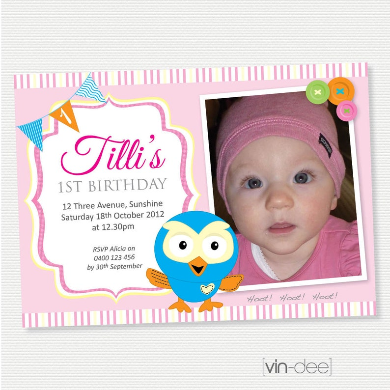 Hoot The Owl Birthday Invitation with Photo DIY Printable