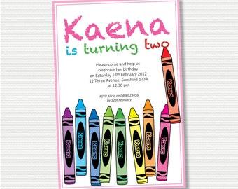 Crayons Birthday Invitation - DIY Printable