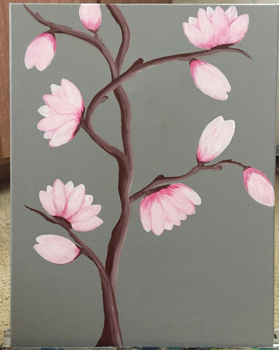 cherry blossoms painting acrylic