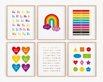 Educational wall art printables, set of 6 classroom posters, learning poster set