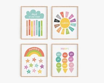 Gallery wall set - set of 4 educational posters - playroom print set - nursery art printables - classroom decor - pastel prints