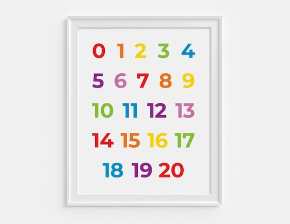 0 - 20 Nursery art number print - educational printables - 8x10 wall decor  - digital download