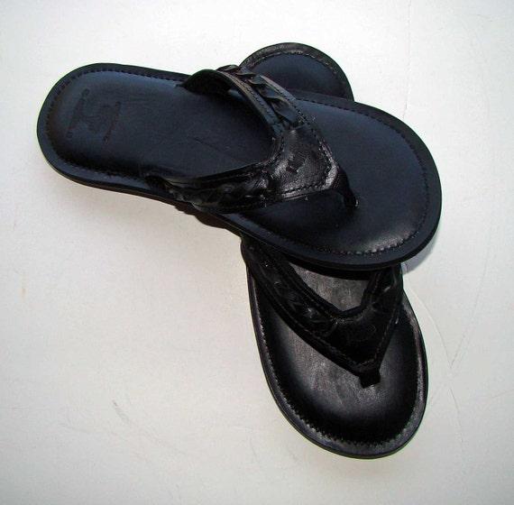 ec6da1ee1 Cuna Leather Flip Flops-Men s-All Black