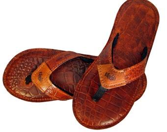 Alligator Embossed Leather Flip Flops-Men's