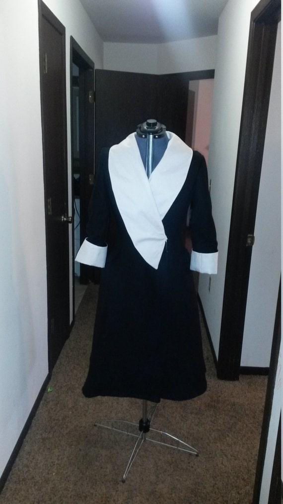 Black and White wool and gabardine designer inspired coat