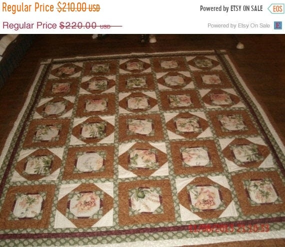 Spring Mega Blowout Beautiful green red tan flower patterned quilt