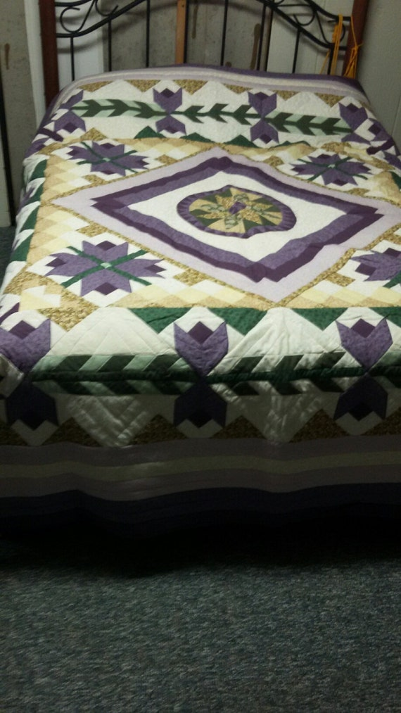 Stunning Purple, green and creams full size quilt