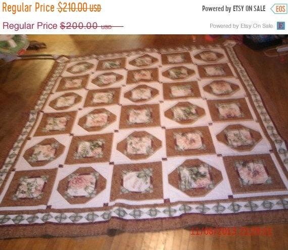 Spring Mega Blowout Beautiful  brown green red and tan flower quilt