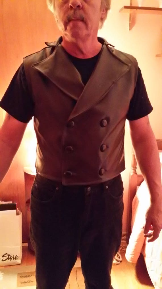 Brown lambskin leather Steampunk Vest - many color available - Sweeny Todd, Edwardian, Steampunk style
