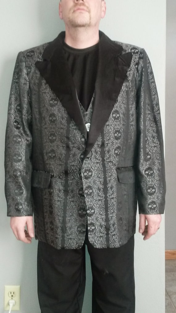 Custom Made Skull Brocade Tuxedo jacket and vest