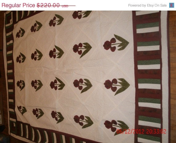 Twin Size Flower Quilt - Priced Reduced