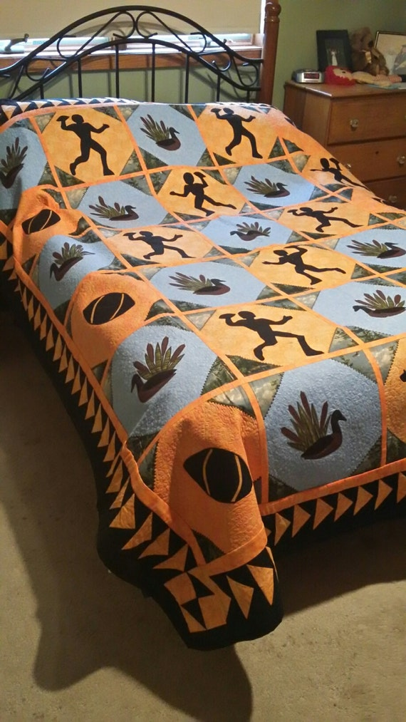 Stunning Orange and Blue football and hunting themed quilt - full Sized