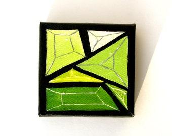 Emerald City Geometric Gem 4 x 4 Oil Painting