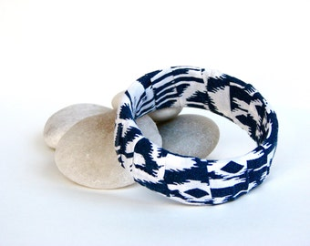 Boho Navy Blue and Ivory Cotton Fabric Bangle Bracelet